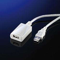 Kabel USB 2.0 A-A verleng 5 meter + versterker wit