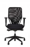 Bureaustoel model DEKAS 330, zitting zwart gestoffeerd, rugleuning zwarte netbespanning, incl. verstelbare armleggers