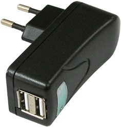 Oplader USB 2 poorten 10W zwart
