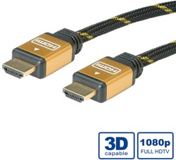 Kabel HDMI gold high speed + ethernet male/male  1 meter zwart