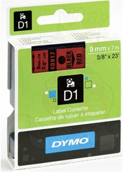 Dymotape D1  9mm zwart/rood 40917 Aktie