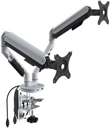 Monitorarm Euroseats Dubbel +USB poorten wit