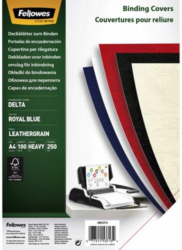 Voorblad/schutblad Fellowes A4 lederlook royal blauw