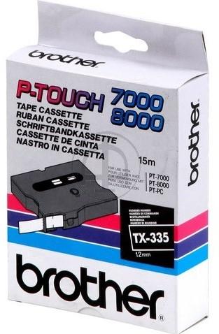Brothertape TX-335 12mm wit op zwart