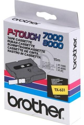 Brothertape TX-631 12mm zwart op geel