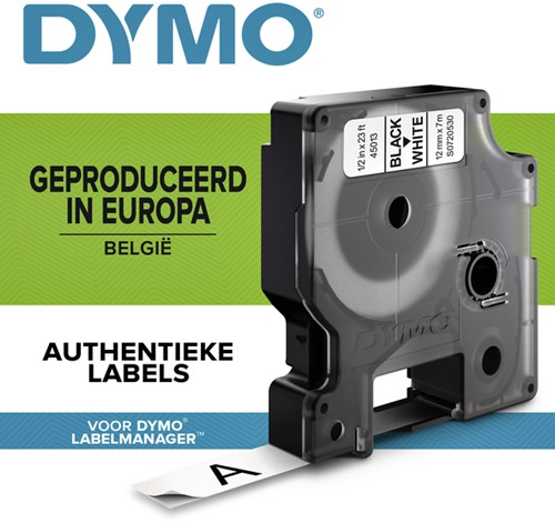 Dymotape D1 12mm zwart op wit 45013