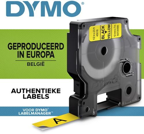 Dymotape D1 12mm zwart op geel 45018
