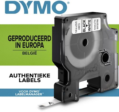 Dymotape D1  6mm zwart op wit 43613