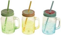 Drinkglas met deksel en rietje