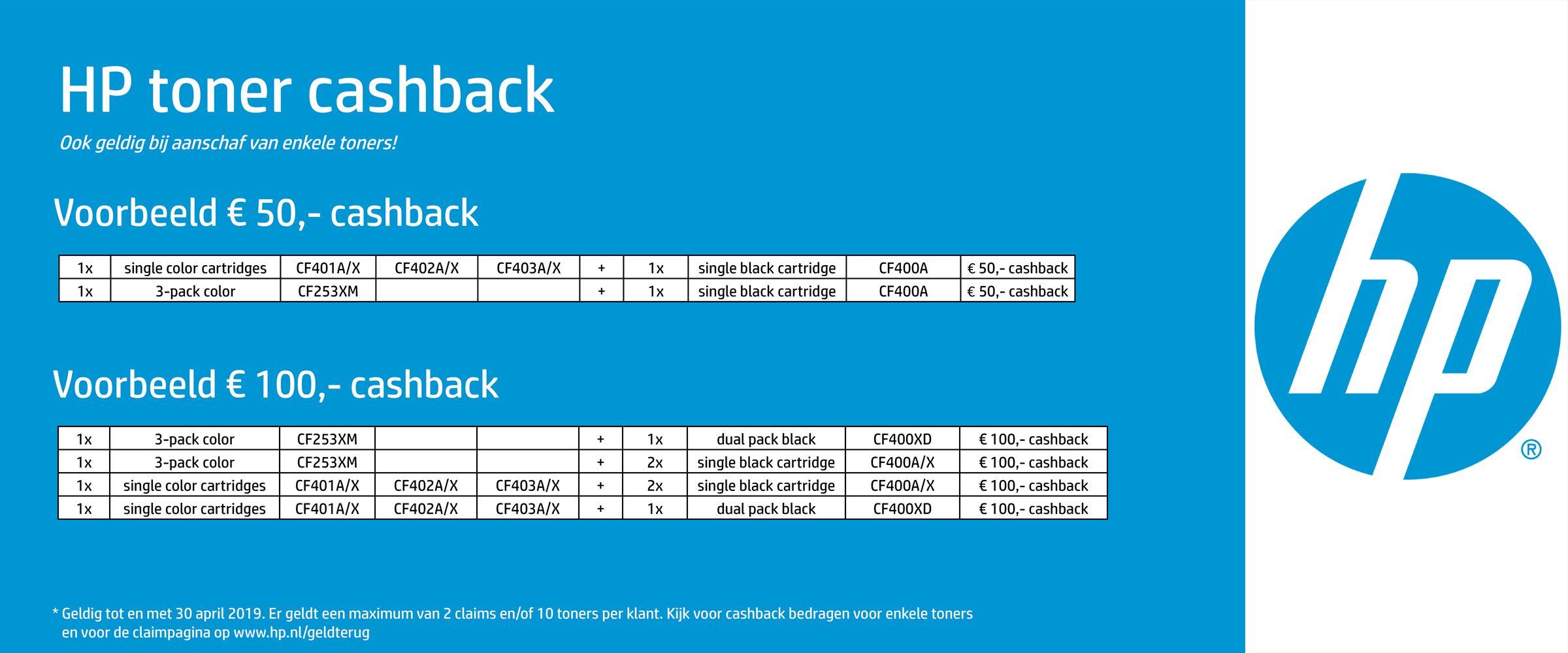 HP toner cashback artikellijst