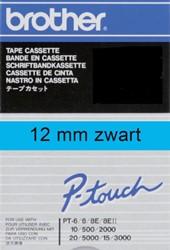 Brothertape TC-501 12mm zwart op blauw