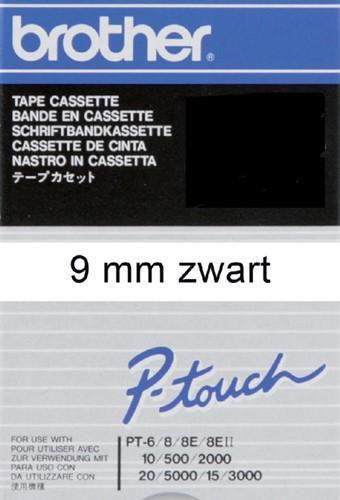 Brothertape TC-291  9mm zwart op wit