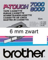 Brothertape TX-211  6mm zwart op wit