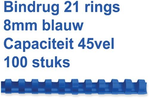 Bindruggen 21r.  8mm blauw ds/100