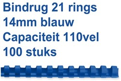 Bindruggen 21r. 14mm blauw ds/100