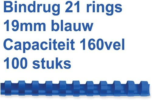 Bindruggen 21r. 19mm blauw ds/100