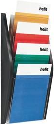 Folderhouder Helit wand 4 x A4 zwart