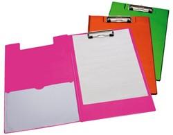 Klembord LPC A4/Folio klem 10cm penlus/hoes neon roze