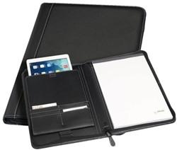 Schrijfmap Rillstab A4 geneve insteekvak iPad zwart