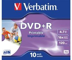 DVD+R Verbatim 4.7GB 16X printable 10pk jc