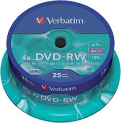 DVD+RW Verbatim 4.7GB 4X 25pk spindel/25