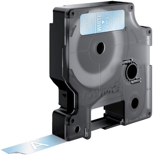 Dymotape D1 12mm wit op transparant 45020