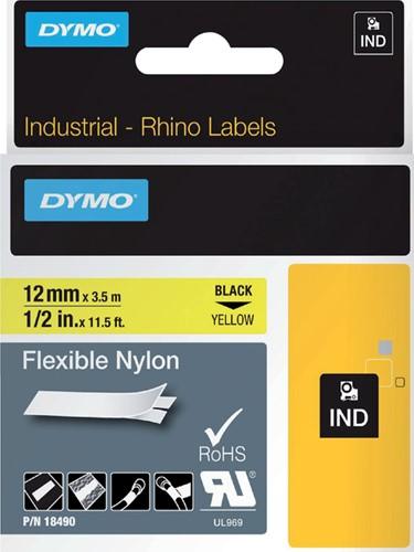 Dymotape Rhino Flexibel nylon 12mm zwart op geel 18490