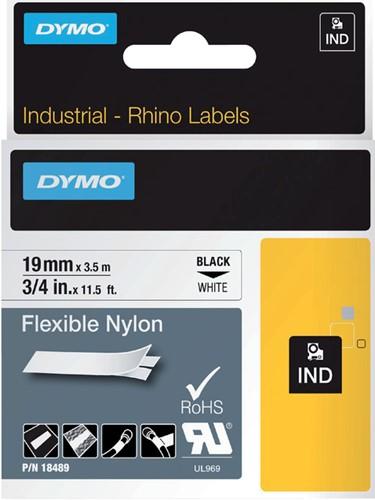 Dymotape Rhino Flexibel nylon 19mm zwart op wit 18489