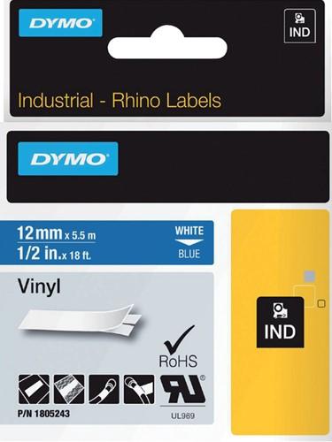 Dymotape Rhino Vinyl 12mm wit op blauw 1805243