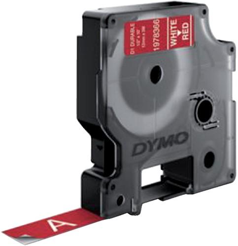 Dymotape D1 12mm wit op rood duurzaam 1978366