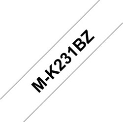 Brothertape M-K231BZ 12mm zwart op wit