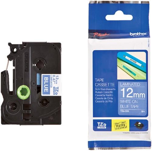 Brothertape TZE-535 12mm wit op blauw