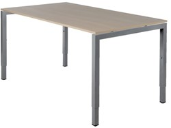 Bureau Fyra 120x80cm - hoogte-instelbaar - aluminium poten - blad eiken whitewash