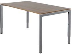 Bureau Fyra 120x80cm - hoogte-instelbaar - aluminium poten - blad noten