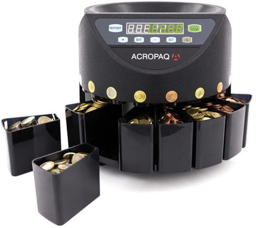 Geldtel- en sorteermachine Acropaq CC601 zwart