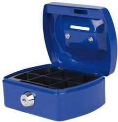 Geldkist 125x95x60mm met gleuf blauw