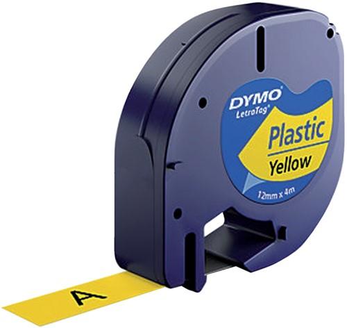 Dymotape LetraTag plastic zwart op geel 91202