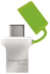 USB-Stick 3.0 Integral + type C 32GB zilver