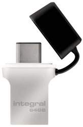 USB-Stick 3.0 Integral + type C 64GB zilver