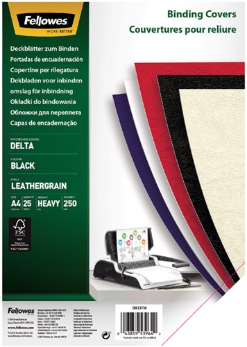 Voorblad Fellowes A4 lederlook zwart pk/25