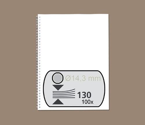 Bindruggen Wirebind 34r 14,3mm zilver ds/100