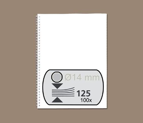 Bindruggen Wirebind 21r 14mm zilver ds/100