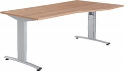 GEBRUIKT - Bureau Huislijn Basic alfa rechts 180x80/100cm hoogte instelbaar, frame B aluminium, blad beuken