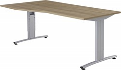 GEBRUIKT - Bureau Huislijn Basic alfa links 180x80/100cm hoogte instelbaar, frame B aluminium, blad beuken
