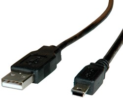Kabel USB 2.0 mini  0,8 meter zwart