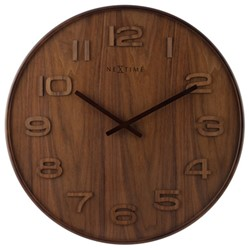 Wandklok 350mm NeXtime 'Wood Wood Medium' cijfers