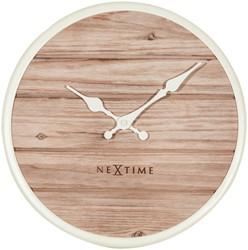 Wandklok 300mm NeXtime 'Plank' hout, wit