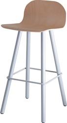 Barstoel Carvi 4-poots, metalen frame, houten kuip, in diverse uitvoeringen