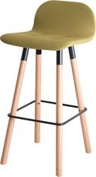 Barstoel Carvi 4-poots, houten frame, kuip gestoffeerd, in diverse uitvoeringen