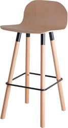 Barstoel Carvi 4-poots, houten frame, houten kuip, in diverse uitvoeringen